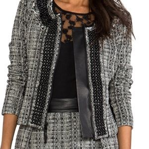 MILLY Black and White Tweed Zip Front Jacket NWT